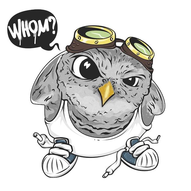 Cartoon uil, illustratie voor print en web. karakter in de moderne grafische stijl. - Premium Vector