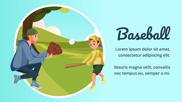 Cartoon vader en zoon spelen amerikaans honkbal Premium Vector