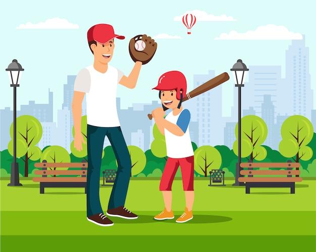 Cartoon vader speelt honkbal met zoon in park Premium Vector