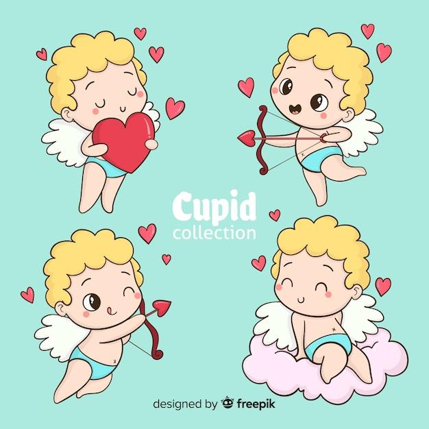 Cartoon valentijn cupido collectie Gratis Vector