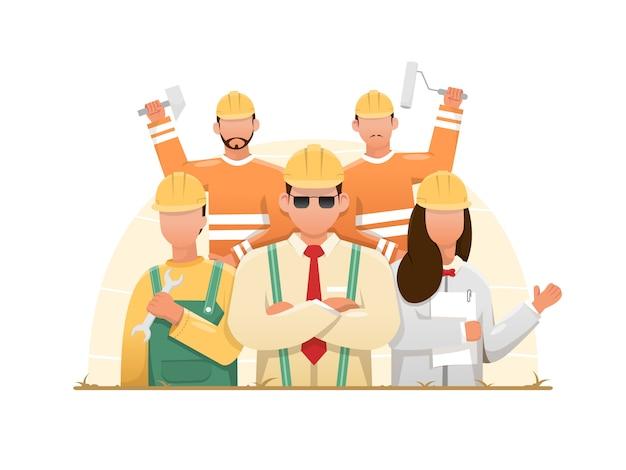 Cartoon van bouwvakkers groep Premium Vector