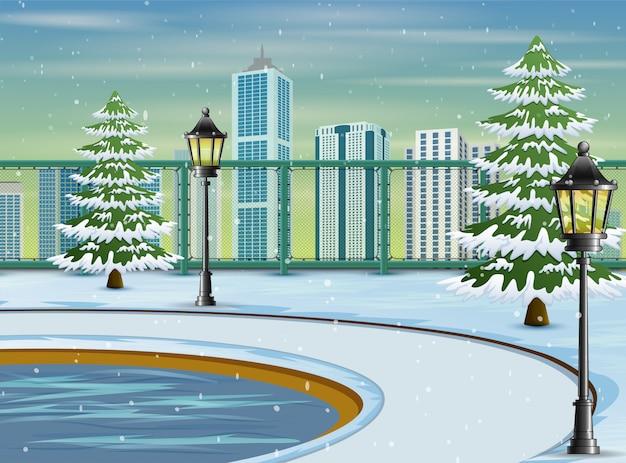 Cartoon van het landschap van het stadspark in de winter Premium Vector