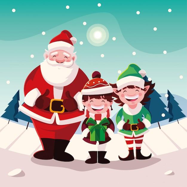 Cartoon van kerstmis met iconen van xmas Premium Vector