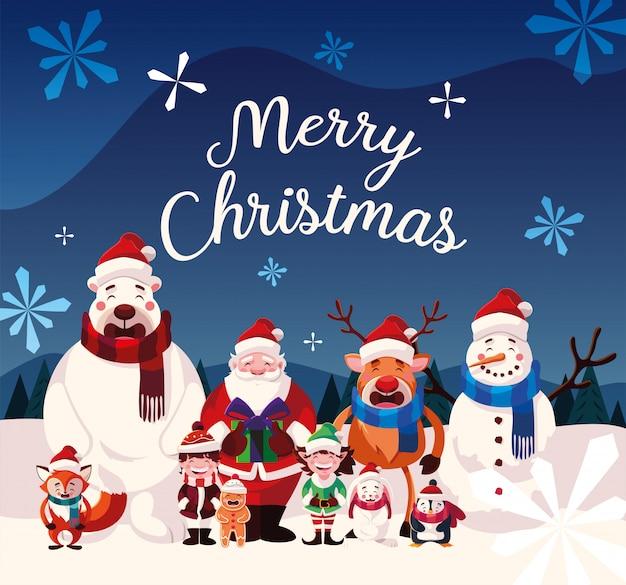 Cartoon van kerstmis met label prettige kerstdagen Premium Vector