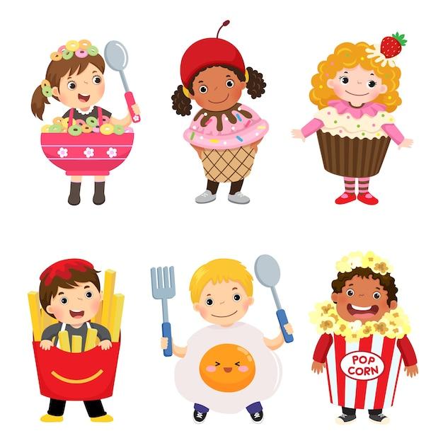 Cartoon van schattige kinderen in voedsel kostuums set. carnavalskleding voor kinderen. Premium Vector