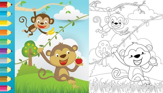 Cartoon van twee aap hangen terwijl fruit op de natuur, kleurboek of pagina Premium Vector