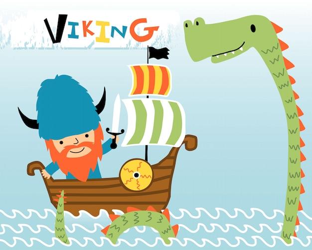 Cartoon van viking op zeilboot met zeemonster Premium Vector