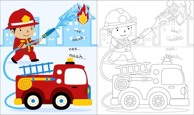 Cartoon van vuur redding Premium Vector