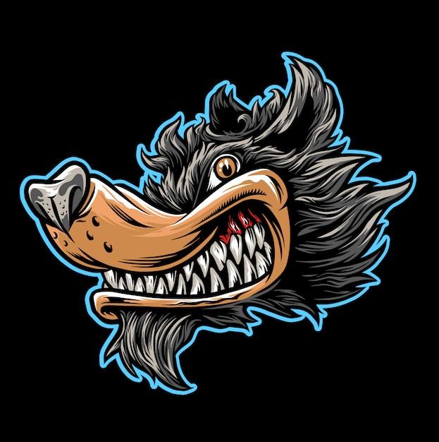 Cartoon van wolf hoofd Premium Vector