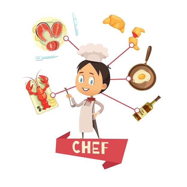 Cartoon vectorillustratie voor kinderen met chef-kok in schort en hoed in centrum en voedsel pictogrammen rond Gratis Vector