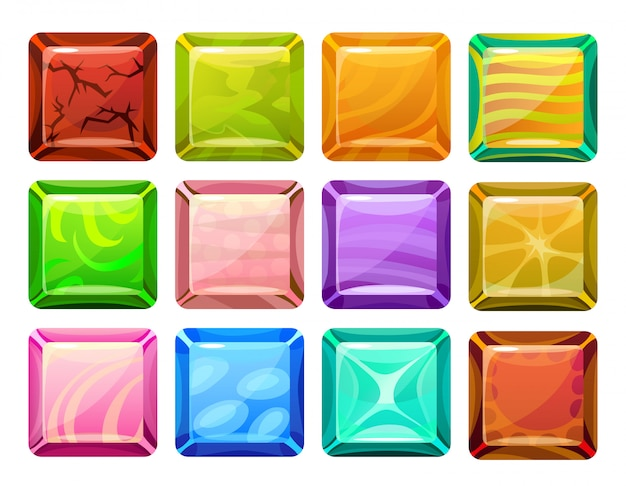 Cartoon vierkante knoppen instellen Gratis Vector