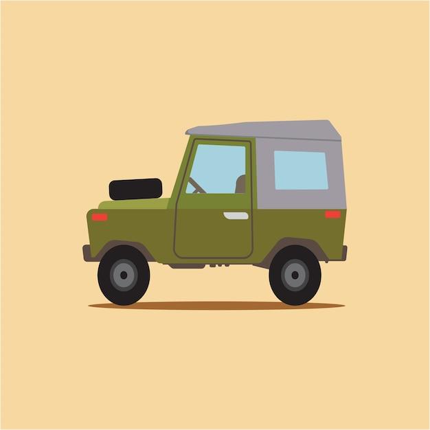 Cartoon vintage jeep Premium Vector