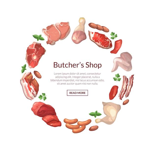Cartoon vlees stukken in cirkelvorm met plaats voor tekst in centrum ronde illustratie Premium Vector