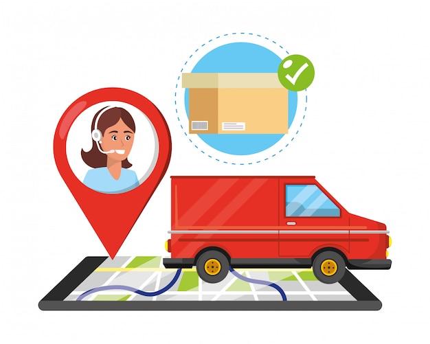 Cartoon voor klantenondersteuning, logistieke dienst Premium Vector