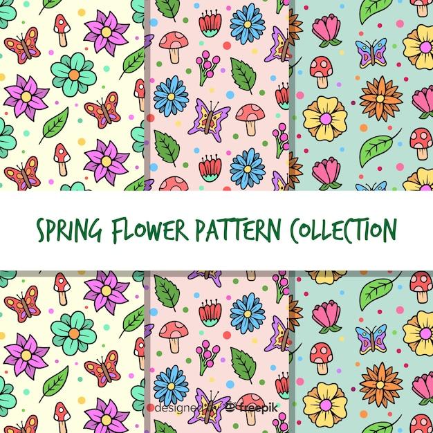 Cartoon voorjaar bloemmotief set Gratis Vector