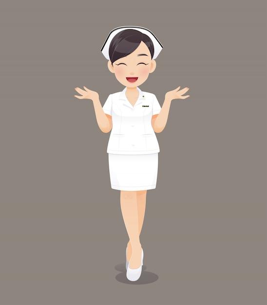 Cartoon vrouw arts of verpleegkundige in witte uniform, glimlachend vrouwelijke verplegend personeel Premium Vector