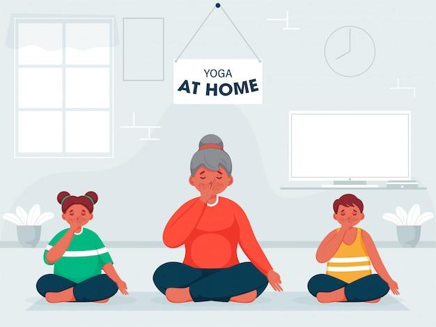 Cartoon vrouw met kinderen doen alternatieve neusgat ademhaling yoga in zittende houding thuis om te voorkomen dat coronavirus. Premium Vector