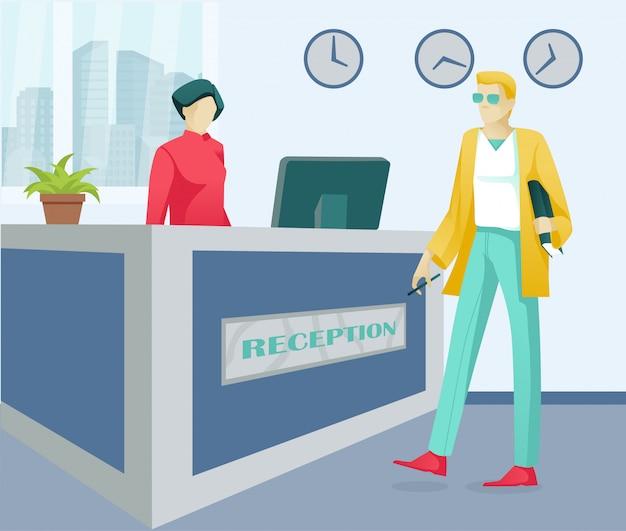 Cartoon vrouw receptioniste en klant tekens Premium Vector
