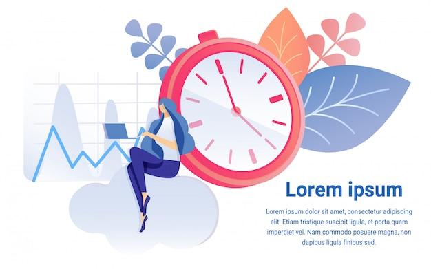 Cartoon vrouw werk op notebook timer klok symbool Premium Vector