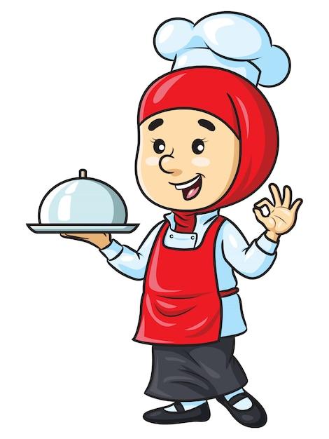 Cartoon vrouwelijke chef-kok met hijab Premium Vector