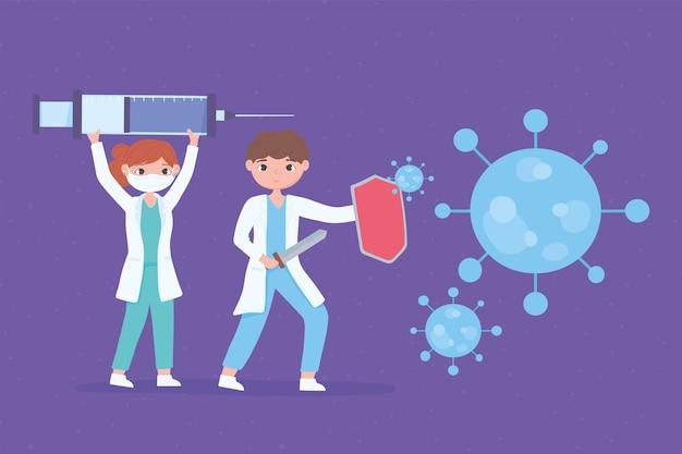 Cartoon vrouwelijke en mannelijke artsen met spuit met covid-vaccin Premium Vector
