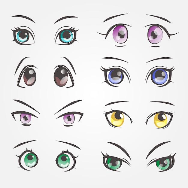 Cartoon vrouwelijke ogen. close-upogen van mooie vrouwen Premium Vector