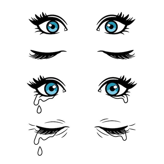 Cartoon vrouwelijke ogen Premium Vector