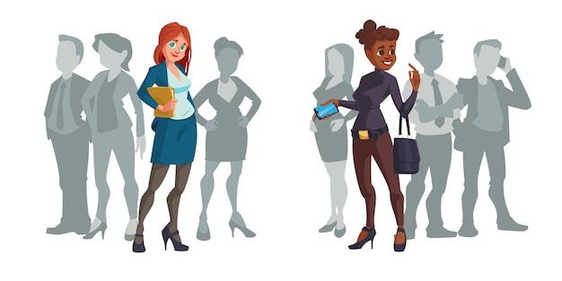 Cartoon vrouwelijke ondernemers onderscheiden zich van de menigte Gratis Vector