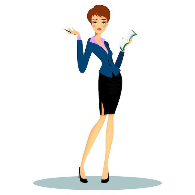 Cartoon vrouwelijke professionele secretaris of business planner formele kleding dragen tijdens het maken van aantekeningen op de agenda Gratis Vector