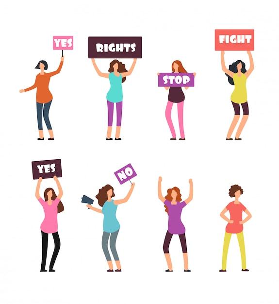 Cartoon vrouwen demonstranten, feminisme, vrouwenrechten en protest concept Premium Vector