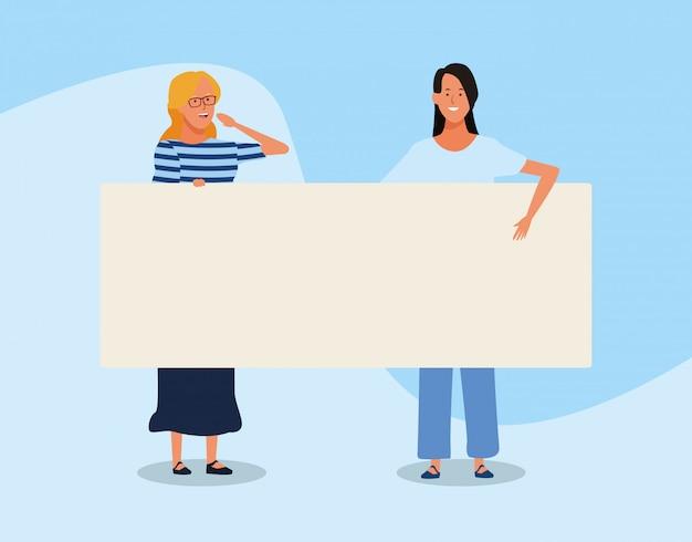 Cartoon vrouwen met lege plakkaat Premium Vector