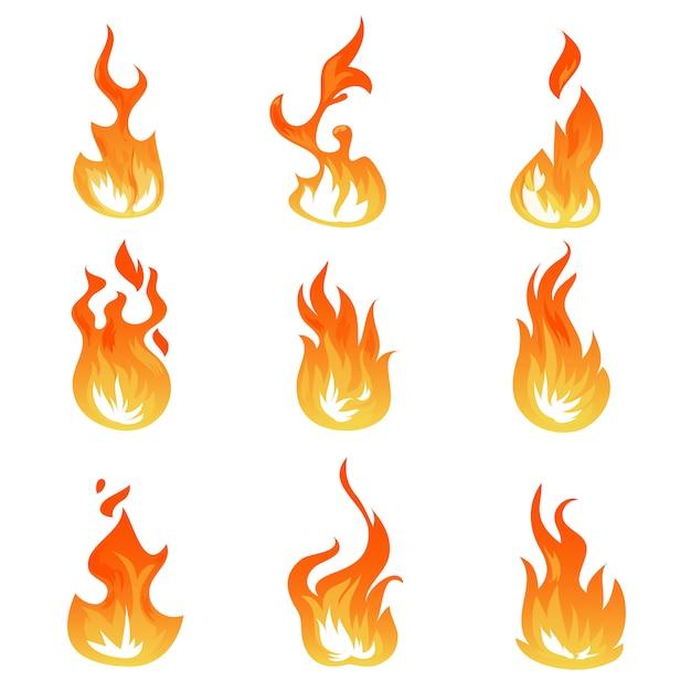 Cartoon vuur vlammen set, ontsteking lichteffect, vlammende symbolen Premium Vector
