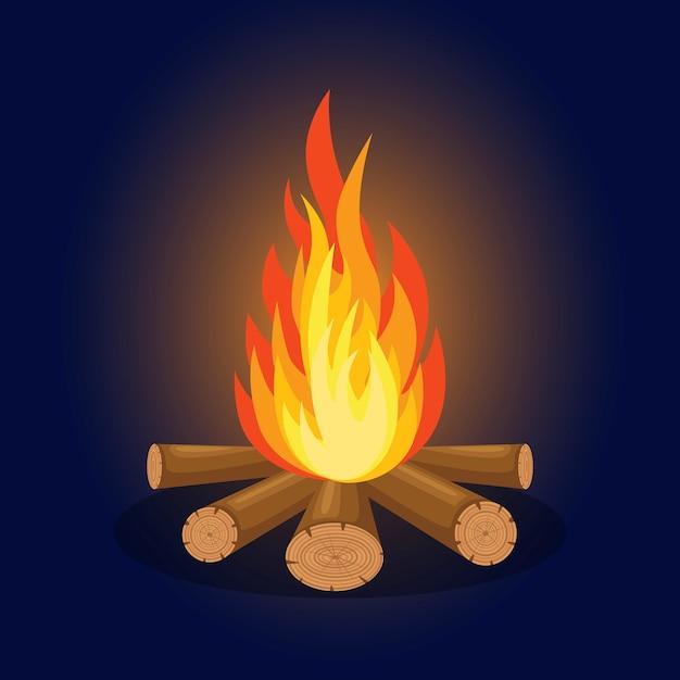 Cartoon vuur vlammen, vreugdevuur, kampvuur geïsoleerd op de achtergrond. Premium Vector