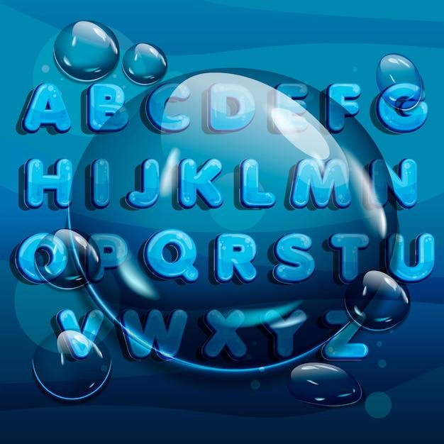 Cartoon water drops lettertype, grappige blauwe alfabet Premium Vector