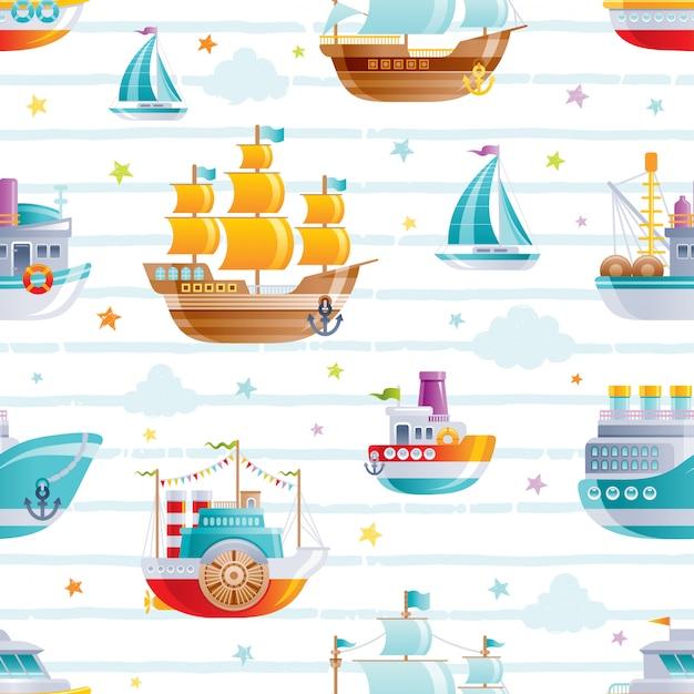 Cartoon watet transport naadloos patroon. schattige baby boy speelgoed. boot, galjoen, zeilschip behangontwerp. Premium Vector