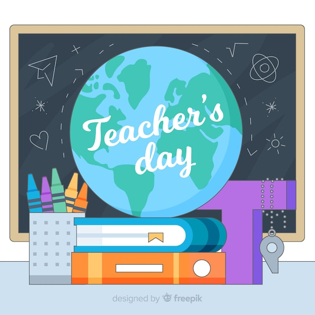 Cartoon wereld leraar dag achtergrond Gratis Vector