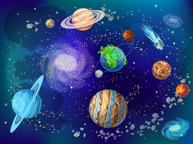 Cartoon wetenschappelijke ruimte Gratis Vector