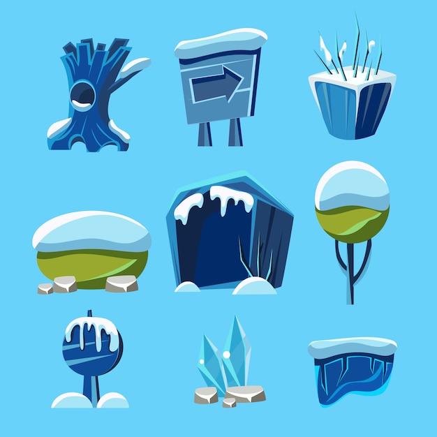 Cartoon winter game natuurelementen Premium Vector