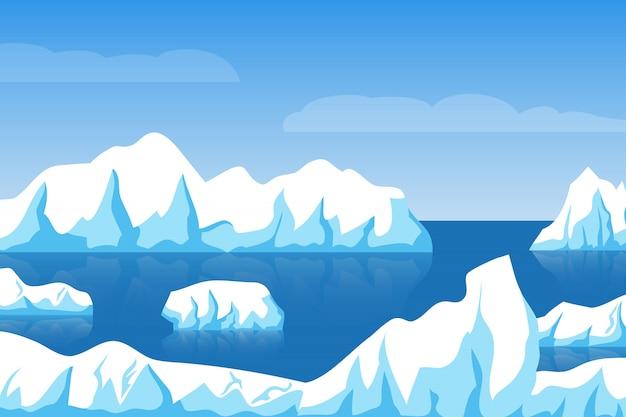 Cartoon winter polair arctisch of antarctisch ijslandschap met ijsberg in zee Premium Vector