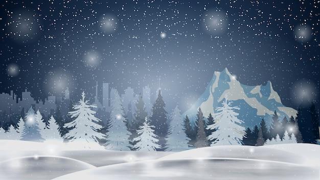 Cartoon winterlandschap met dennenbos, berg en stad op horizont Premium Vector