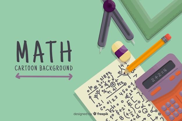 Cartoon wiskunde concept achtergrond Gratis Vector