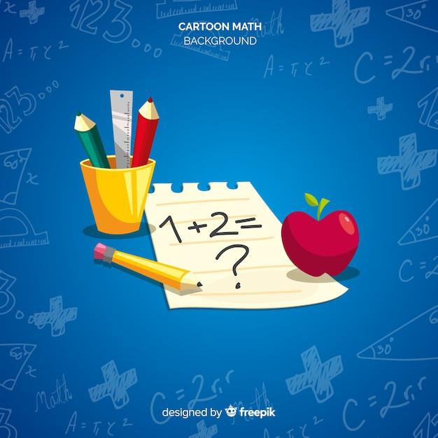 Cartoon wiskunde elementen achtergrond Gratis Vector