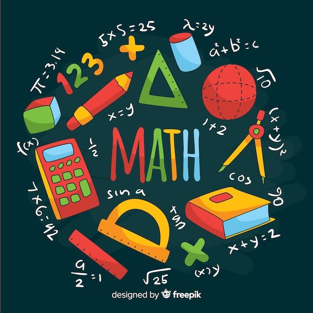 Cartoon wiskunde schoolbord achtergrond Premium Vector