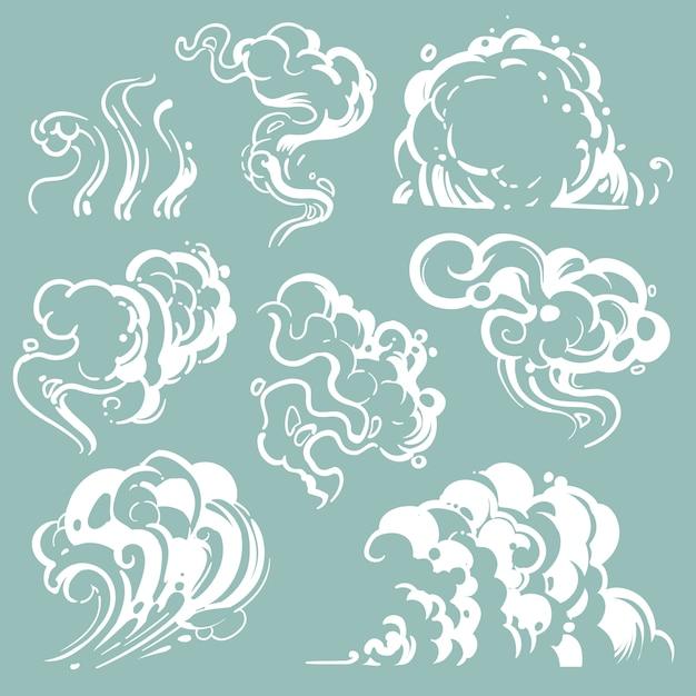 Cartoon witte rook en stofwolken. komische vectorstoom geïsoleerd Premium Vector