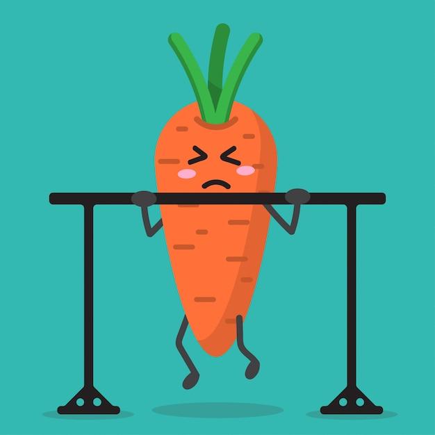 Cartoon wortel gezondheid sterk Premium Vector
