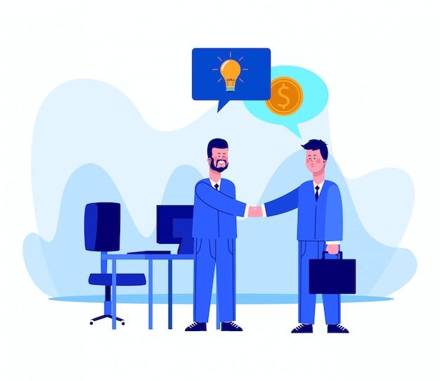 Cartoon zakenlieden op kantoor met tekstballonnen met ideeën en geld pictogrammen op wit Premium Vector