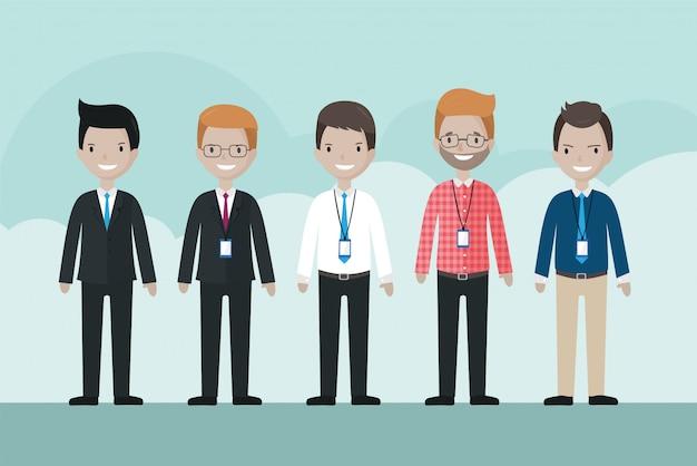 Cartoon zakenman avatar set Premium Vector