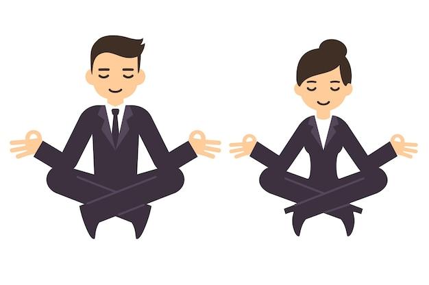 Cartoon zakenman en vrouw in formele pakken mediteren in lotus houding. geïsoleerd op witte achtergrond. Premium Vector