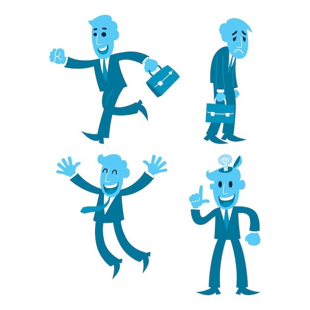 Cartoon zakenman vier actie, wandelen, moe, blij, oplossen Premium Vector