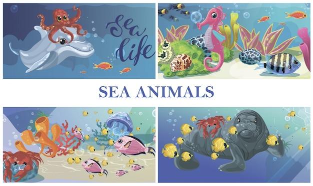 Cartoon zee onderwater leven samenstelling met dolfijn octopus seahorse zeehond krab kwal zeewier vissen Gratis Vector